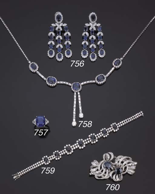 Collana in diamanti e zaffiri
