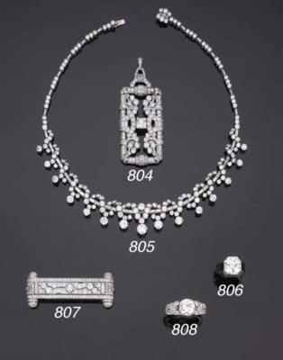 Spilla art déco in diamanti, f