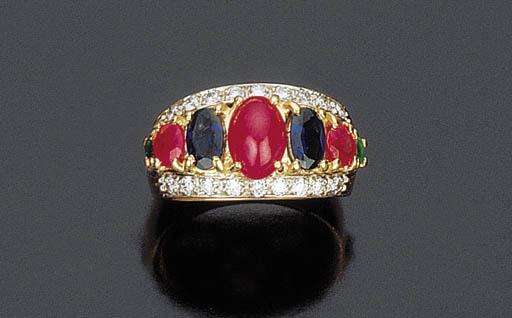 Anello con rubini, zaffiri e brillanti
