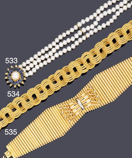 Bracciale in zaffiri e perle coltivate