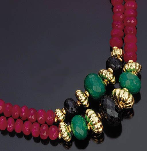 Due collane in radici di rubini, smeraldi e zaffiri