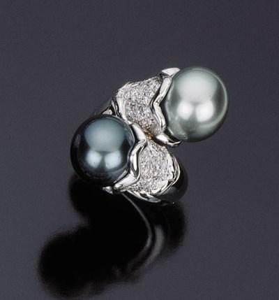 Anello con perle grigie coltiv