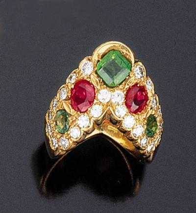 Anello in smeraldi e rubini