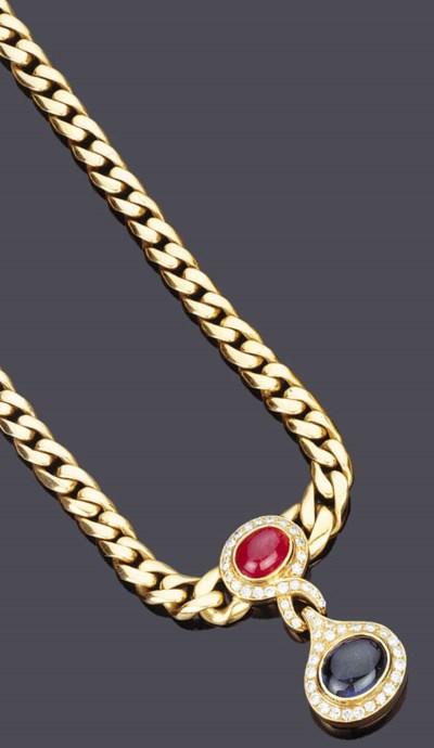 Collana in oro con rubino e za
