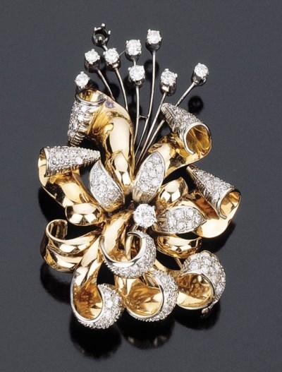 Spilla pendente in oro bicolor