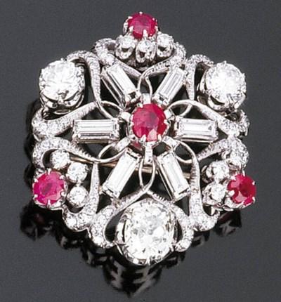 Spilla in rubini e diamanti