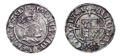 Henry VIII, Halfgroat, 1.39g.,