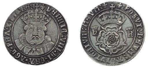Henry VIII, Testoon, 7.43g., t