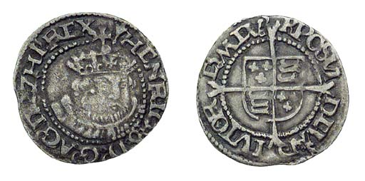 Henry VIII, Halfgroat, 1.20g.,