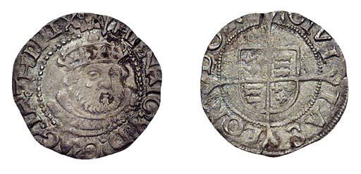 Henry VIII, Halfgroat, 1.02g.,