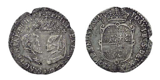 Philip and Mary, Sixpence, 2.8