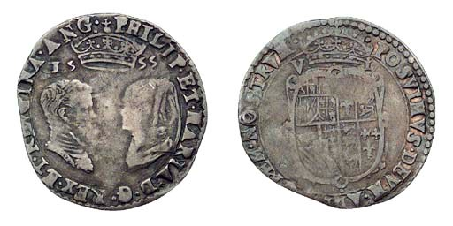 Philip and Mary, Sixpence, 2.7