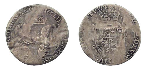 Philip and Mary, Sixpence, 2.5