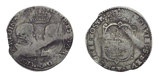 Philip and Mary, Sixpence, 2.9