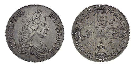 Charles II, Crown, 1671, third