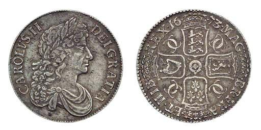 Charles II, Crown, 1673, 3 ove