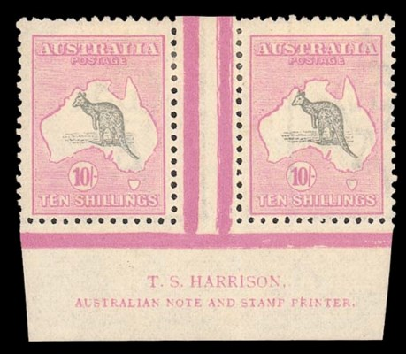 unused  10/- grey and pale ani