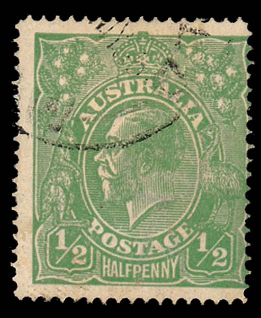 used  1915 ½d. bright green pe