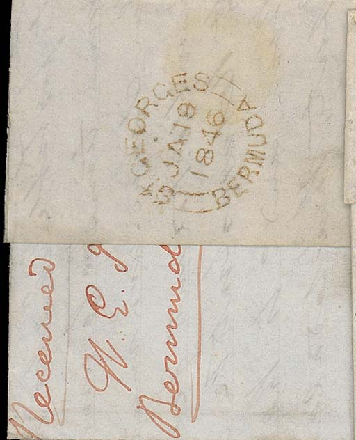 """cover 1846 (19 Jan.) entire to London, rated """"1/-"""" and showing, on reverse, fine """"ST GEORGES/BERMUDA"""" c.d.s. (PM5). Photo"""