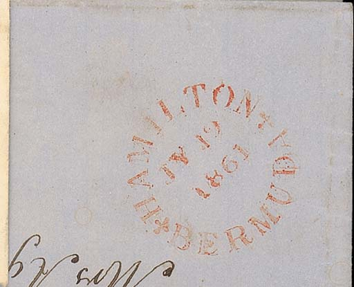 """cover 1861 (19 July) entire (light stains at top) to St. Georges showing fine """"HAMILTON/BERMUDA"""" c.d.s. (PM4) struck inverted. Photo"""