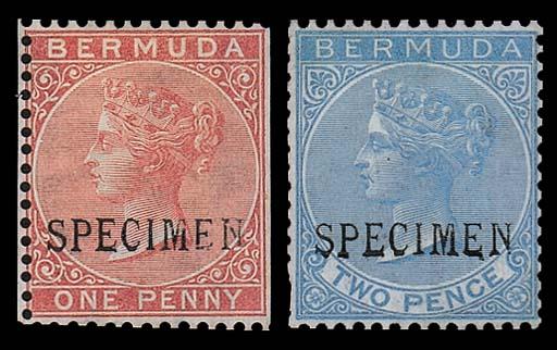 Specimen  1d. rose-red and 2d.