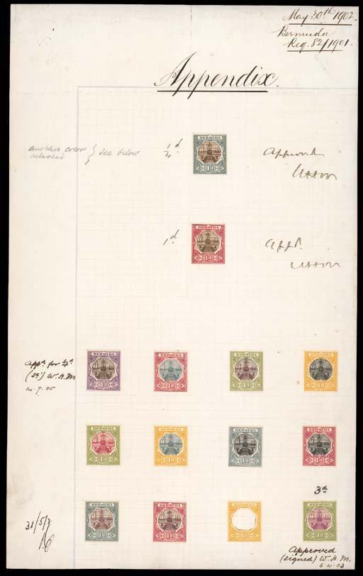 """Proof  1902 (30 May) """"Appendix"""" sheet (202x328mm.) bearing fourteen examples, two in brown and grey and brown and carmine mounted at top with each initialled """"WHM"""" and marked """"Appd"""" for ¼d. and 1d. values respectively, the former subsequently marked """"another colour selected see below"""", the other twelve (one a frame only) mounted at foot with two in the issued colours of the 1903 3d. and 1908 ¼d.; three proofs crossed by crease though a remarkable and unique piece. Photo"""
