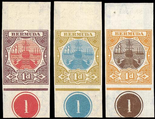 Proof  Three examples with plate number, comprising azure and sepia, red and maroon, and brown and orange. Photo