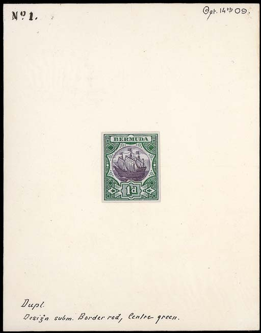 """essay  1d. composite surface printed essay, comprising the Dock issue frame in green with the Ship issue vignette in violet inset, the join touched up in Chinese white, on card (89x114mm.) marked """"Dupl Design subm. Border red, Centre green """", """"No 1"""" and dated """"Oct 14th 09."""". Photo"""
