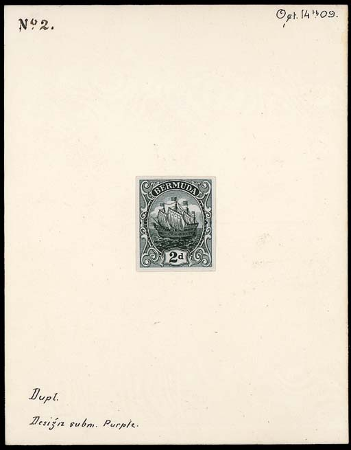 """essay  2d. surface printed essay in deep grey-green in very close to the issued design, on card (89x114mm.) marked """"Dupl Design subm. Purple"""", """"No 2"""" and dated """"Oct 14th 09."""". Photo"""