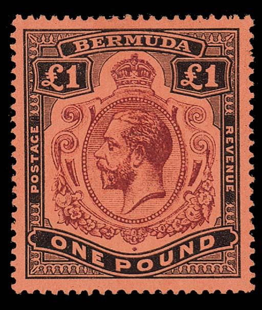 unused  £1 purple and black on
