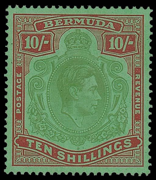 unused  10/- yellowish green a