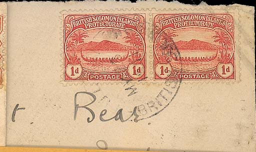 cover COVERS: 1911 (13 May) envelope, with imprint of Government Residence at Gizo altered to Mala, addressed to Sydney, bearing 1d. pair cancelled by Tulagi c.d.s. (Vernon Type 2) and with arrival machine d.s. on reverse. Photo