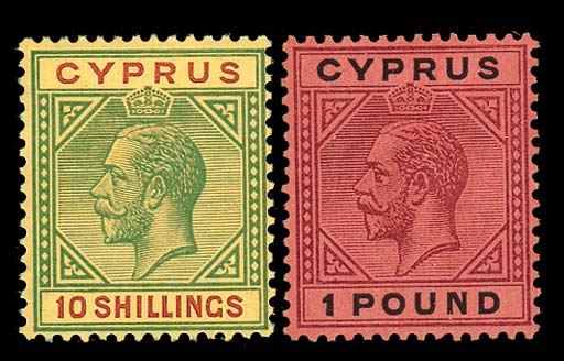 unused  -- 10/- green and red on pale yellow and £1 purple and black on red, fine mounted mint. S.G. 100-101, £1350. Photo