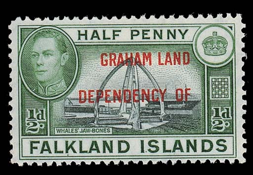 unused  GRAHAM LAND: 1944 ½d. blue-black and green, fresh and fine mint. Rare. S.G. A1a, £600. Photo