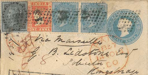 cover 1857 (Oct.) ½a. envelope