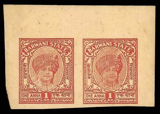 Proof  REVENUE STAMPS 1938 1a., an imperforate colour trial pair in scarlet on gummed paper. Scarce. Photo