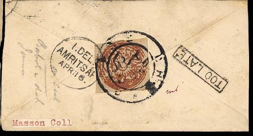 cover 1878 (14 Apr.) India ½a.