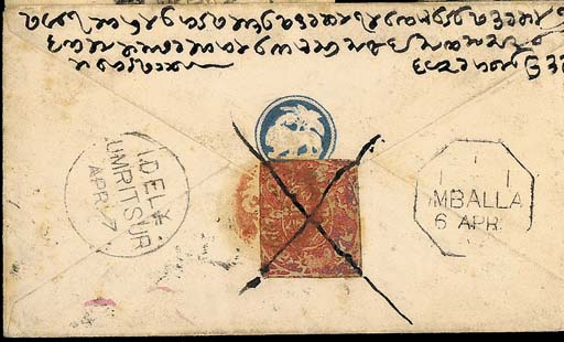 """cover 1876 (5 Apr.) India ½a. envelope from Srinagar to Amritsar, cancelled by Sialkot """"L-3"""" duplex and bearing, on reverse, Jammu ½a. orange-red cancelled in Kashmir by red seal cancel of Srinagar and pen stroke, Umballa and Amritsar d.s. either side of the adhesive. Photo"""