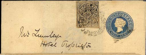 """cover 1868 (June) India ½a. letter sheet to Bengal, bearing 1867-78 ¼a. black sharing the duplex, the reverse with a legible strike of the """"POST OFFICE CASHMERE"""" c.d.s. with large fleuron at foot in brownish-red ink, Rawalpindi and Umballa d.s.; a scarce usage of this stationery in Kashmir. Photo"""