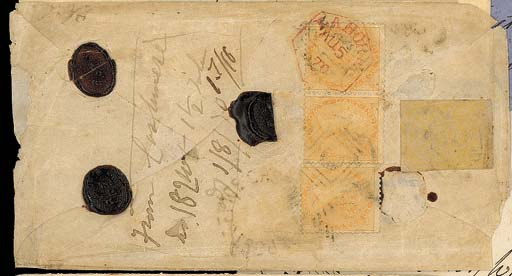 """cover 1870 (31 July) envelope (small part of face panel missing) to Amritsar, bearing India 2a. strip of three twice cancelled with duplex, in combination with 1867-78 2a. yellow just tied, and showing, alongside, manuscript """"From Cashmere No 182 Wt 1½ Tolas"""" applied at the British Indian Post Office; rare. Photo"""
