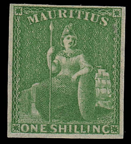 unused  -- 1/- yellow-green, small to good margins, unused with part original gum. S.G. 35, £425. Photo