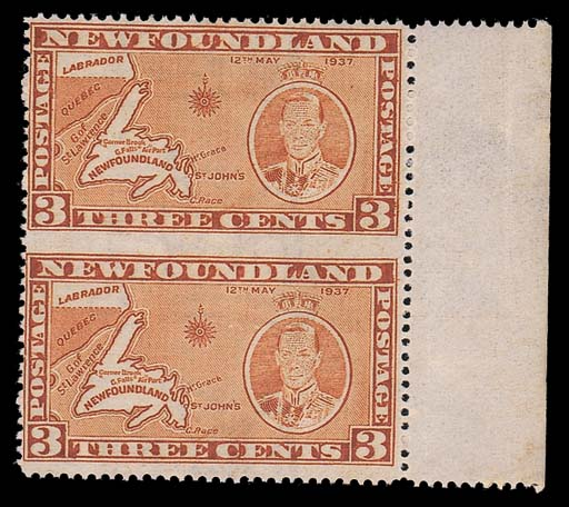 unmounted mint  -- 3c. orange-brown (Die II) vertical pair with sheet margin at right, variety imperforate between, fine unmounted mint. S.G. 258db, £450. Photo
