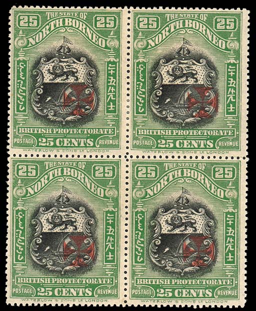 unused Block of Four  25c. black and green, perf. 14½-15, mint block of four, gum a little toned otherwise fine. S.G. 213a, £1700. Photo