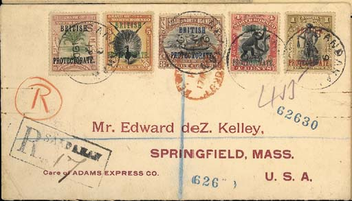 cover 1902 (9 Apr.) envelope registered to USA c/o Adams Express Co., bearing 1901 British Protectorate 1c., 3c., 4c., 5c. and 8c., all tied by Sandakan c.d.s. and showing framed registration h.s., red London transit d.s. and, on reverse, Singapore and arrival datestamps. Attractive. Photo