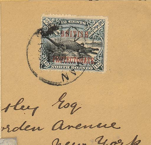 cover 1902 (25 Aug.) envelope to New York bearing 1901 British Protectorate 12c. tied by Sandakan c.d.s. and showing, on reverse, Victoria and arrival datestamps. Photo