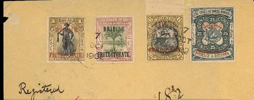 cover 1902 (7 Oct.) envelope registered to Switzerland bearing 1901 British Protectorate 1c., 3c., 6c. and 25c., all tied by Sandakan c.d.s. and showing framed registration h.s. with, on reverse, Naples and arrival datestamps. Photo