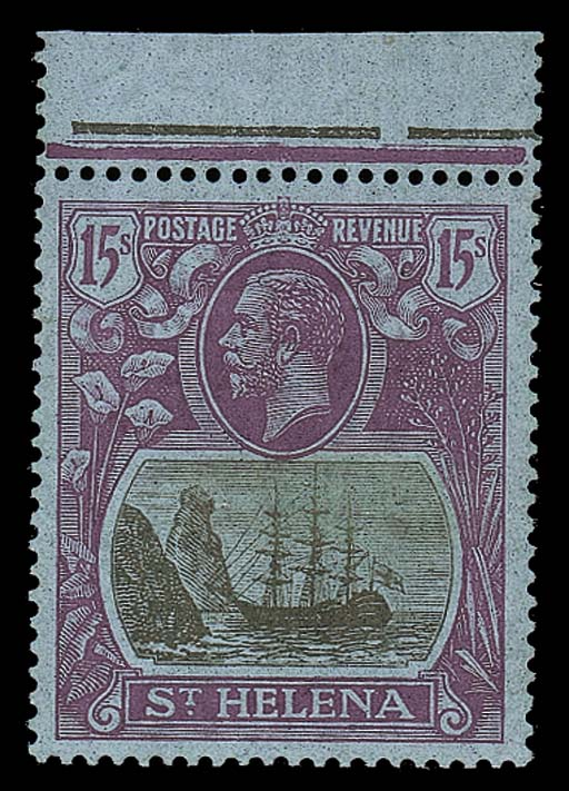 unmounted mint  -- Script 15/- grey and purple on blue, marginal from the top of the sheet, unmounted mint; trace of foxing on gum, otherwise fine. S.G. 113, £800. Photo