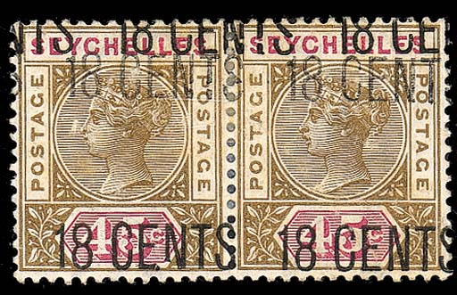 unused  -- 18c. on 45c., a horizontal pair showing variety surcharge triple; some slight faults and faint traces of age-toning but otherwise fine. Extremely rare. B.P.A. Certificate (2000). S.G. 26b, £3400. Photo
