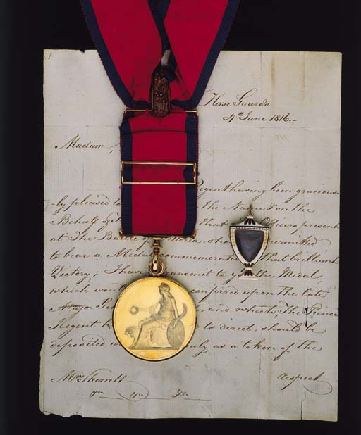 An Extremely Rare Large Army Gold Medal to Major-General J.B. Skerrett, Commander of the 2nd Brigade at Vittoria, Who Fell at the Head of His Men at the Storming of Bergen-op-Zoom, General Officer's Large Army Gold Medal for Vittoria (Major-General I.B. Skerrett), with usual swivel-ring suspension and riband buckle, complete with original neck riband and gold fitments, extremely fine, the whole contained in original red leather case of issue