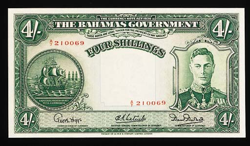 Bahamas, Government Issue, 4/-